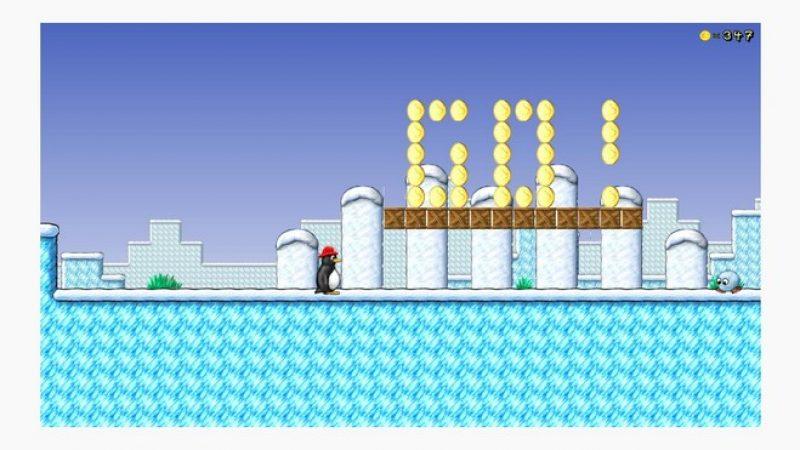 Test du jeu SuperTux sur Freebox mini 4K : un Mario-like avec Tux, la mascotte de Linux
