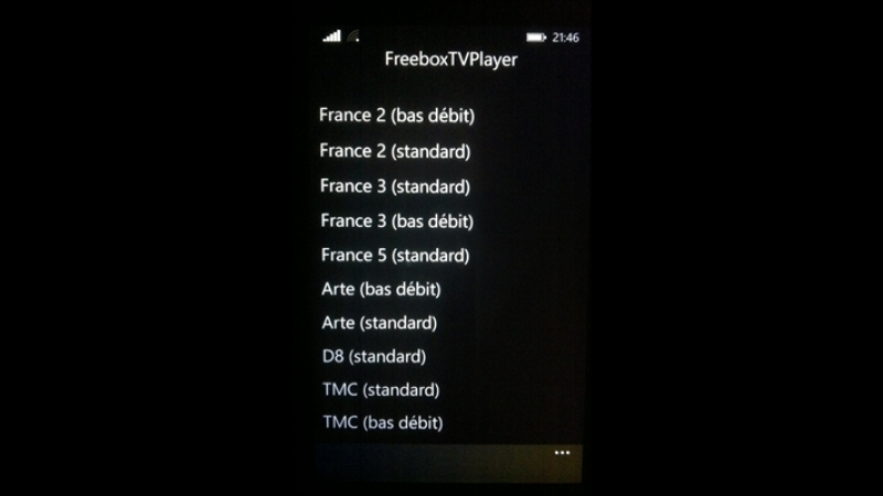FreeboxTVPlayer : regardez Freebox TV avec votre Windows Phone