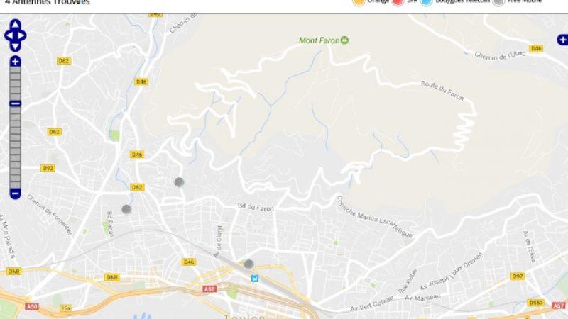 Découvrez la répartition des antennes mobiles Free 3G/4G sur Toulon