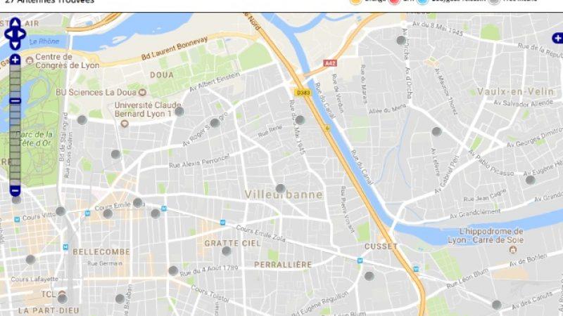 Découvrez la répartition des antennes mobiles Free 3G/4G sur Villeurbanne
