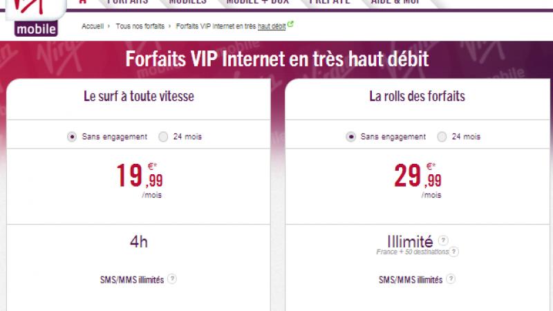 """Virgin Mobile lance ses nouvelles offres  """"VIP en Très Haut Débit"""" en H+/4G"""