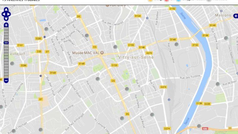 Découvrez la répartition des antennes mobiles Free 3G/4G sur Vitry-sur-Seine
