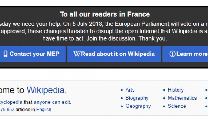 Wikipédia baisse le rideau dans plusieurs langues pour protester contre la réforme du droit d'auteur