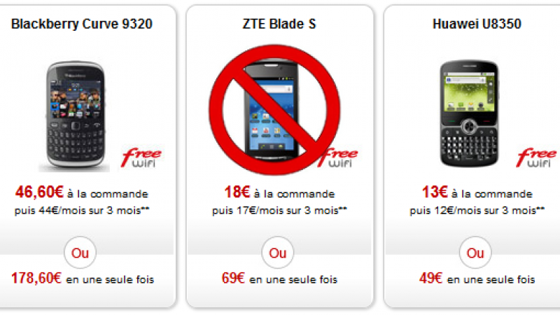 Le ZTE Blade S n'est plus en vente dans la boutique de Free Mobile