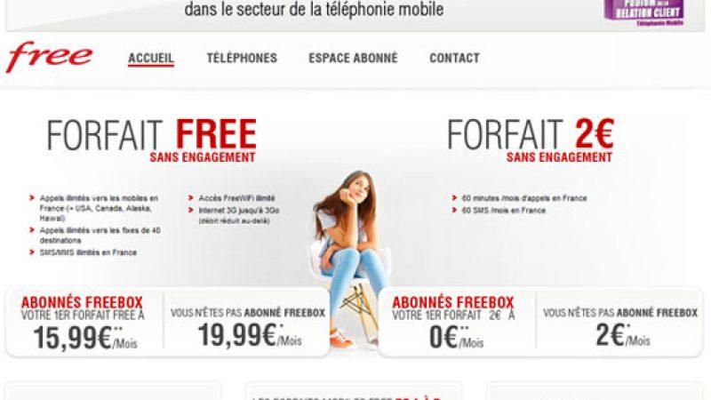 Nouvelle page d'accueil pour le site de Free Mobile