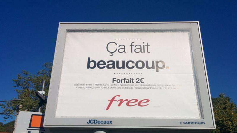 Et la 3ème affiche de la campagne Free Mobile concerne le forfait 2€