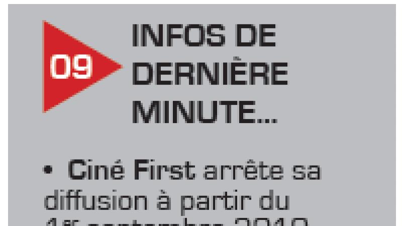 Ciné First arrêterait sa diffusion à partir du 1er septembre prochain