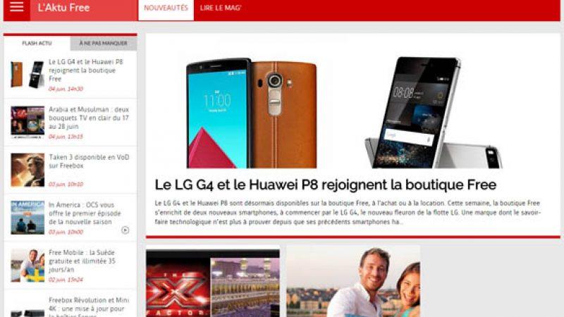 Free lance une rubrique consacrée à son actualité sur le portail Free.fr