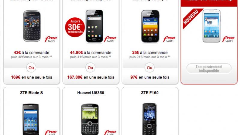 "Free Mobile : L'Alcatel One Touch Pro M ""temporairement indisponible"""