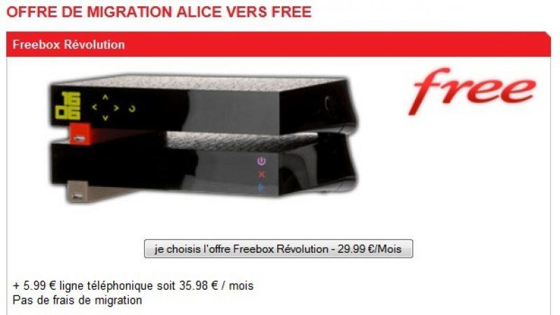 Migration gratuite vers la Freebox Révolution pour les clients Alice ADSL