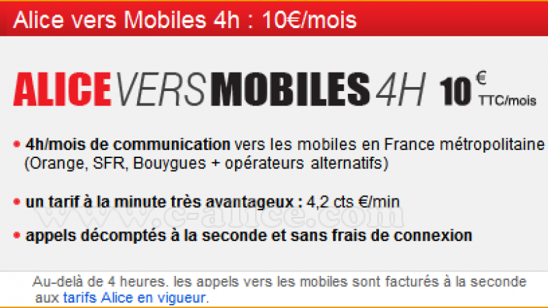 Alice propose un  forfait 4h mobiles pour 10 euros, et chez Free ?