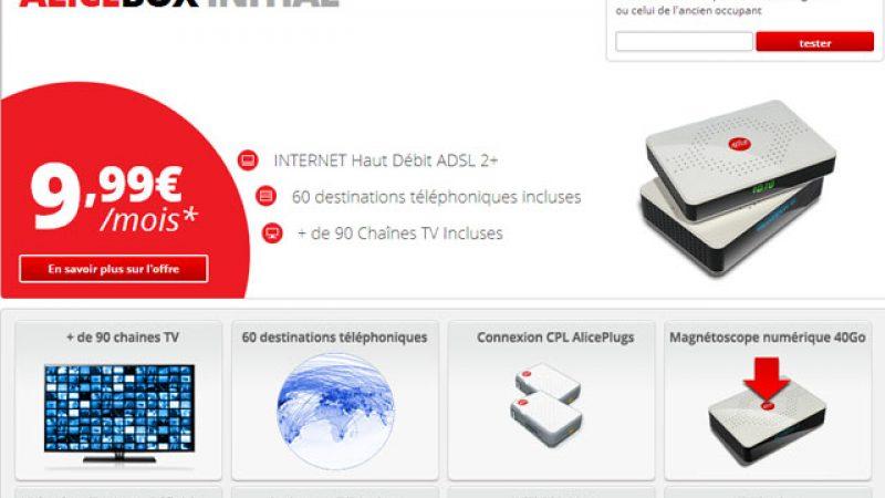 La nouvelle offre Alicebox Initial à 19,98€ disponible sur le site d'Alice, avec le détail des chaînes TV incluses