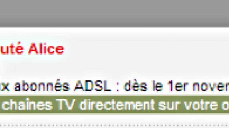 Alice TV : 7 chaînes accessibles sur PC