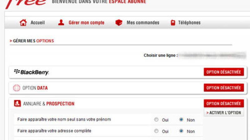 Free Mobile : Ajout de l'option « Annuaires et prospection » dans l'espace abonné