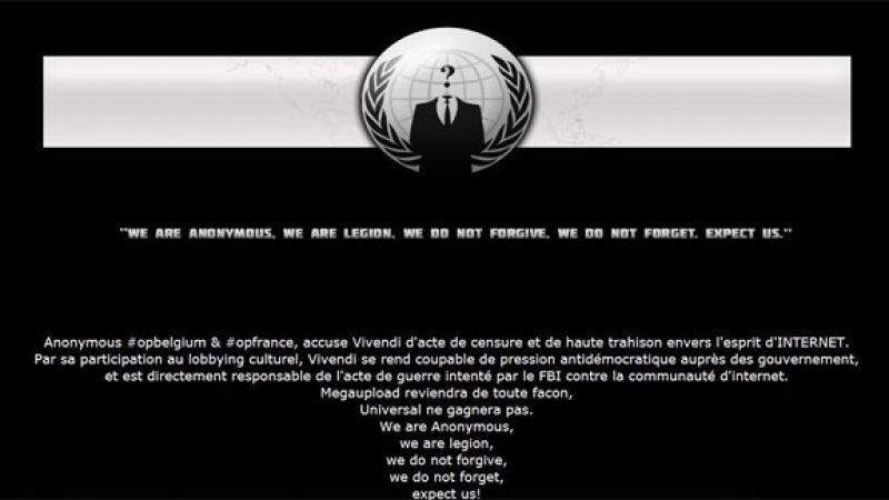 Les Anonymous ont piraté le site de Vivendi et menaceraient Facebook et Twitter
