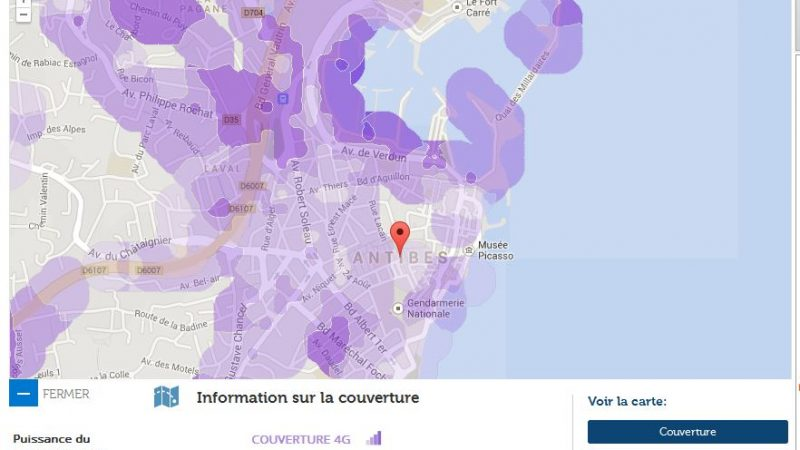 Couverture et débit 4G Free Mobile : Focus sur Antibes