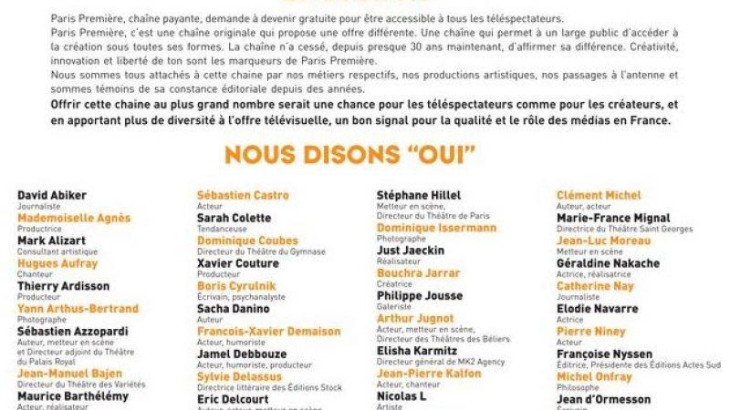 """Paris Première publie l'appel de 100 personnalités qui disent """"oui"""" à son passage en TNT gratuite"""