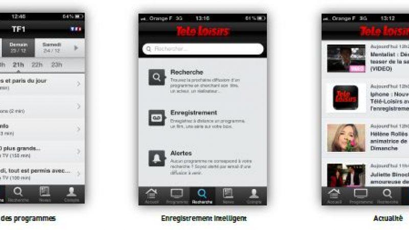 Enregistrements sur Freebox : Mise à jour de l'application iPhone Télé Loisirs