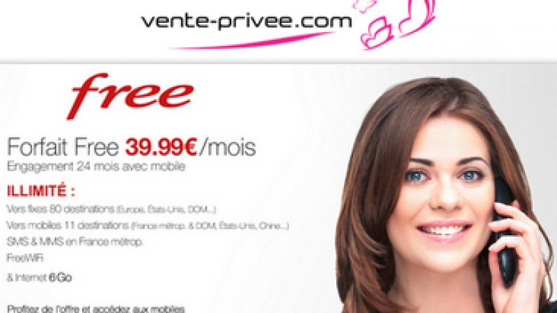Vente-Privée : Forfait Free illimité 6Go avec mobile inclus à 39,99€/mois ou 35,99€/mois pour les abonnés Freebox. Tous les détails !