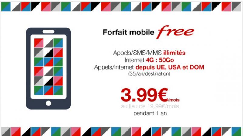 Forfait Mobile 50 Go : Free prolonge son offre vente privée à 3,99 euros/mois jusqu'au 1 avril