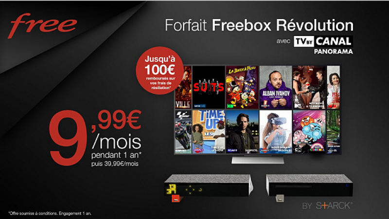 La braderie Free continue : Freebox Révolution + Canal Panorama + forfait mobile 2h pour 9,99€/mois