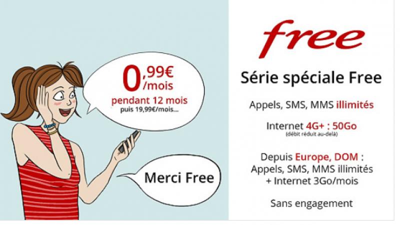 Free prolonge sa série spéciale avec un forfait 50Go à 0,99€/mois durant 1 an
