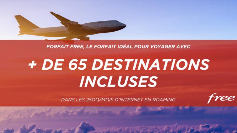 Free  Mobile continue d'enrichir son forfait 100 Go avec une avalanche de nouvelles destinations incluses en roaming