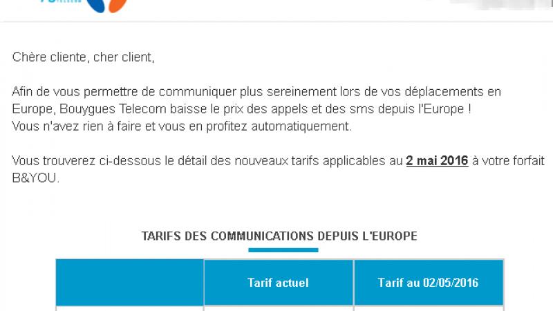 Bouygues Télécom fait passer la baisse des frais de roaming votée par l'Europe pour un cadeau fait à ses abonnés