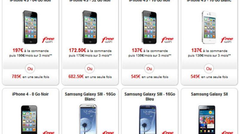Free Mobile baisse le tarif de certains iPhones