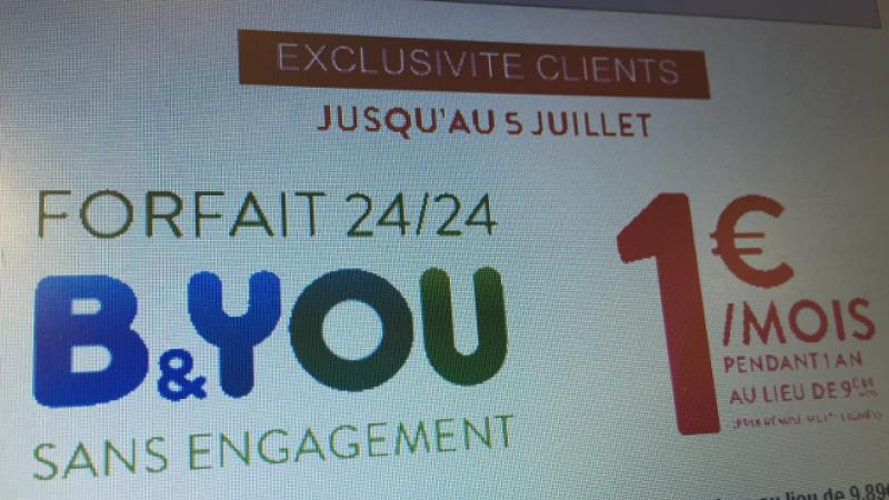 Bouygues Télécom : une série limitée du « Forfait B&You 24h/24 20 Mo » pour 1 euro par mois pendant 1 an