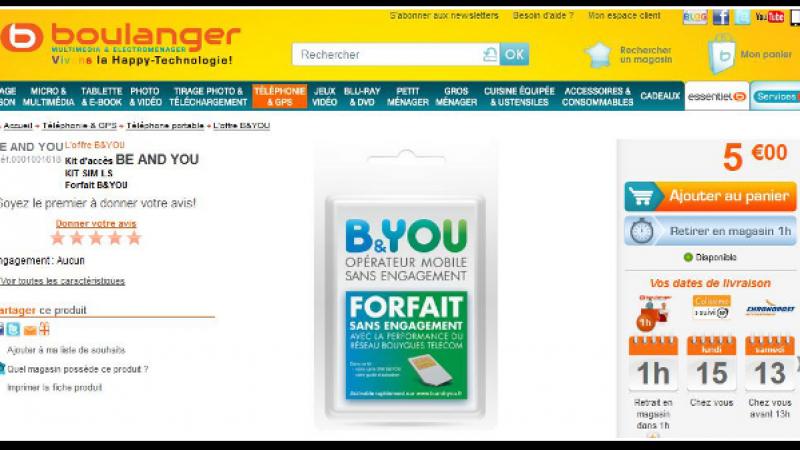 Bouygues Telecom propose des kits d'accès B&You à 5 euros chez Boulanger