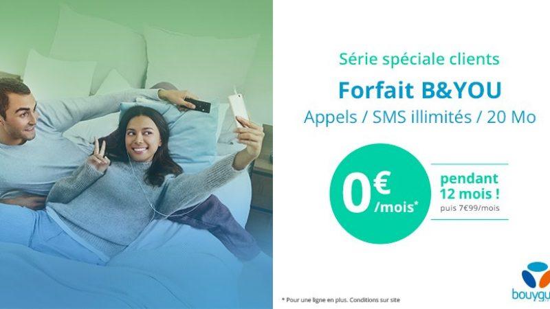 Bouygues Télécom propose un forfait mobile à 0€ durant 1 an, pour ceux qui sont déjà abonnés