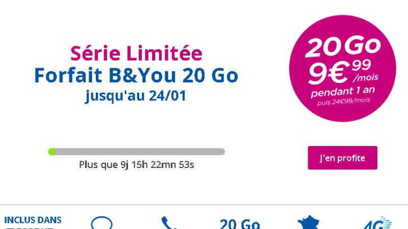 Bouygues Télécom lance une série limitée « B&You 20 Go à 9,99€ »