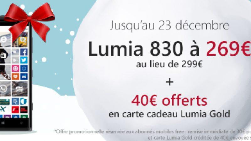 Offre spéciale Free : le Lumia 830 à 269 euros + 40€ offerts