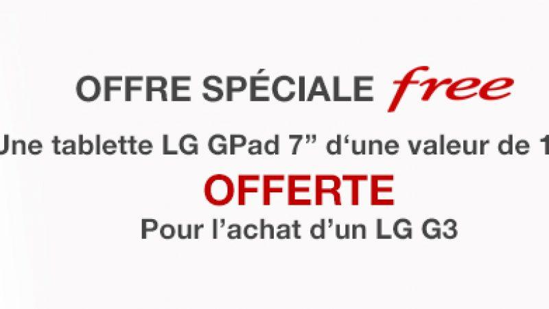 Offre spéciale Free Mobile : une tablette offerte pour l'achat d'un LG G3