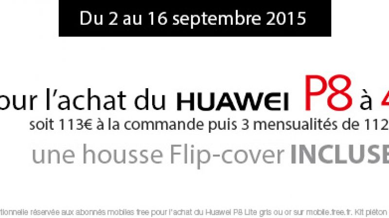 Free Mobile : un prix en baisse et un étui flip cover offert pour l'achat d'un Huaweï P8