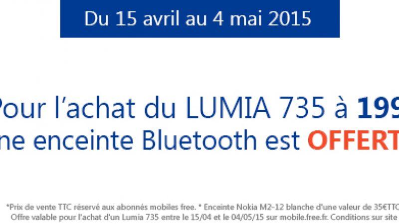 Une enceinte bluetooth offerte pour l'achat d'un Lumia 735 chez Free Mobile