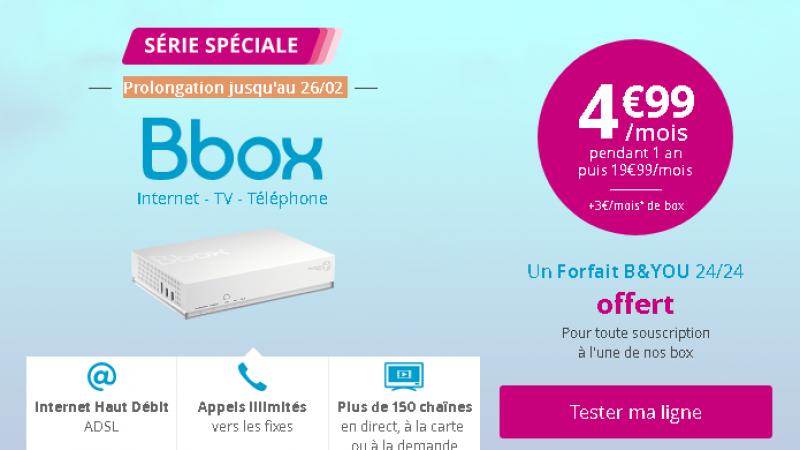 Bouygues répond à la Vente Privée de Free avec un tarif affiché identique de 4,99€, mais qui n'est pas le vrai prix