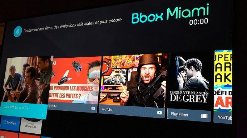 Pile 1 an après le lancement de la Freebox Mini 4K, Bouygues déploie Android TV sur toutes les Bbox Miami
