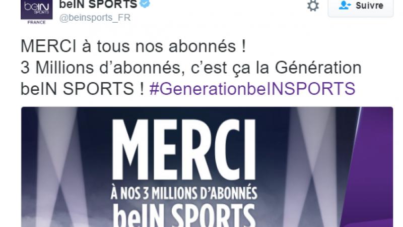 BeIN Sports franchit le cap des 3 millions d'abonnés