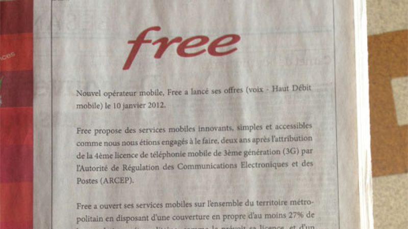 Free Mobile s'offre une pub dans un journal pour informer du déploiement d'antennes 3G