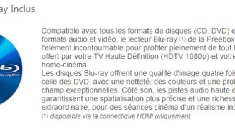 Free prévient en amont que le lecteur Blu-ray n'est pas fonctionnel avec la sortie péritel