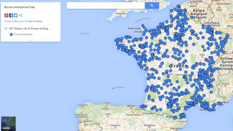 831 bornes interactives Free Mobile dans les « Maison de la Presse et Mag Presse »