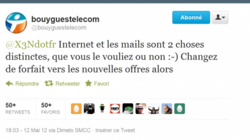 Non, Bouygues ne distingue pas Internet et email