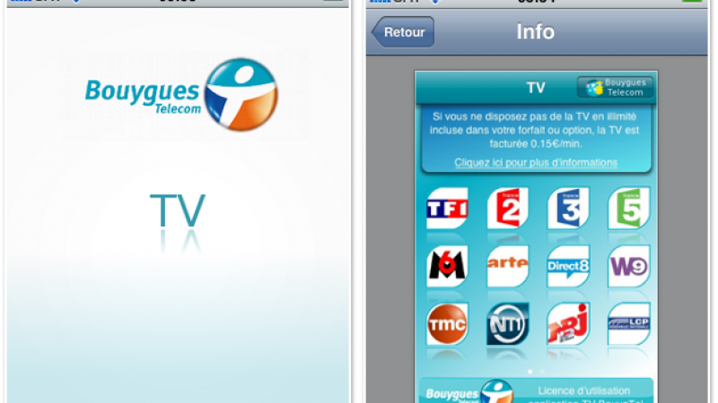 « TV Bouygues Telecom » sur iPhone