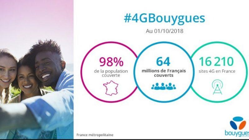 Bouygues Télécom annonce couvrir 98% de la population en 4G, et rejoint ainsi Orange