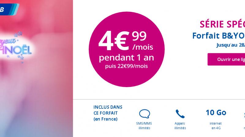 Nouvelle offre de Noël chez Bouygues Télécom, avec le forfait 10Go à 4,99€