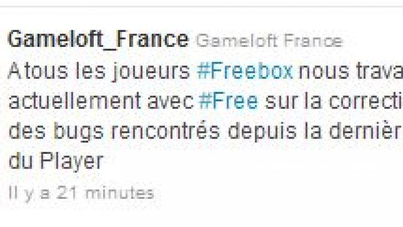 Gameloft et Free : Anomalie entre la télécommande et les jeux en cours de résolution