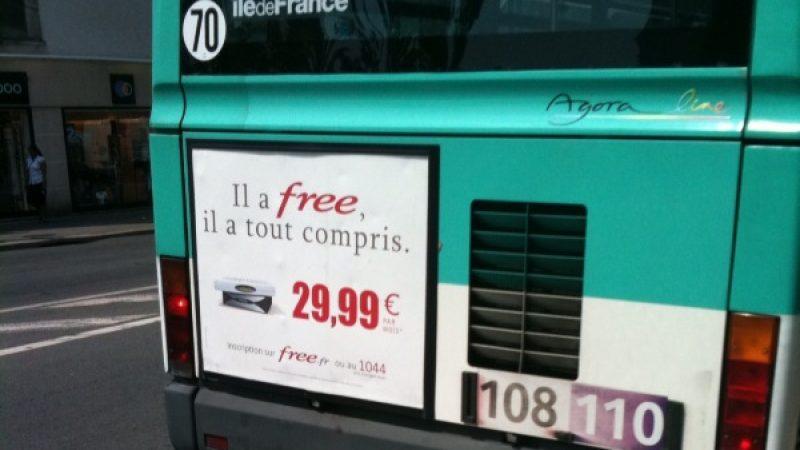 Free lance une campagne de pub sur les bus franciliens