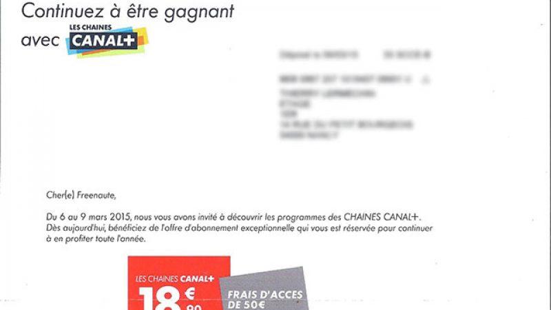 Canal+ envoie un courrier à certains Freenautes pour proposer une offre